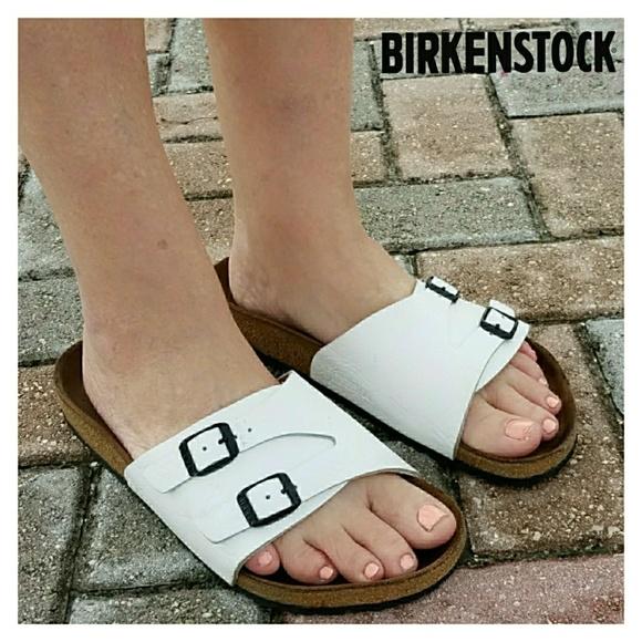 749c1a2b206 Birkenstock Shoes - Birkenstock Zurich White Embossed Leather Sz 40